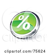 Round Green And Chrome 3d Percent Web Site Button