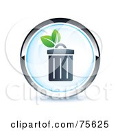 Royalty Free RF Clipart Illustration Of A Blue And Chrome Garbage Web Site Button by beboy
