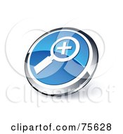 Royalty Free RF Clipart Illustration Of A Round Blue And Chrome 3d Zoom In Web Site Button by beboy