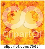 Royalty Free RF Clipart Illustration Of An Orange Background Bordered With Vibrant Autumn Leaves
