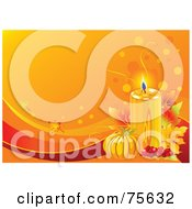 Royalty Free RF Clipart Illustration Of A Lit Candle With Berries Leaves And A Pumpkin On An Orange Thanksgiving Background