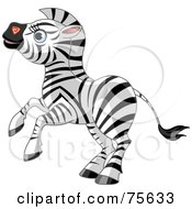 Royalty Free RF Clipart Illustration Of An Energetic Zebra Rearing Up by Pushkin
