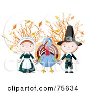 Royalty Free RF Clipart Illustration Of A Thanksgiving Turkey Holding Hands With Pilgrims In Front Of Autumn Branches by Pushkin