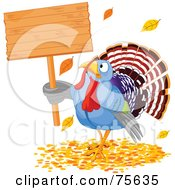 Royalty Free RF Clipart Illustration Of A Thanksgiving Turkey Holding A Blank Wooden Sign In Autumn Leaves