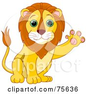Friendly Male Lion Waving His Paw
