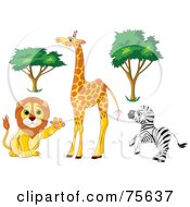 Royalty Free RF Clipart Illustration Of A Digital Collage Of African Trees And Animals Friendly Lion Tall Giraffe And Rearing Zebra by Pushkin
