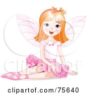 Royalty Free RF Clipart Illustration Of A Dirty Blond Ballerina Fairy Princess Sitting by Pushkin
