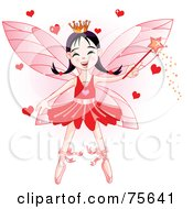 Ballerina Fairy Princess In Red Waving A Magic Wand With Hearts