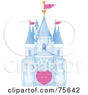 Royalty Free RF Clip Art Illustration Of A Blue Brick Fantasy Castle With Heart Gates And Pink Flags