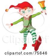 Royalty Free RF Clipart Illustration Of An Energetic Running Christmas Elf Ringing A Bell by Pushkin