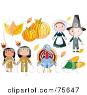 Royalty Free RF Clipart Illustration Of A Thanksgiving Digital Collage Of Autumn Leaves Pumpkins Pilgrims Corn A Turkey And Native Americans