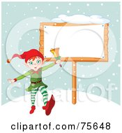 Royalty Free RF Clipart Illustration Of An Energetic Christmas Elf Ringing A Bell By A Blank Sign In The Snow by Pushkin