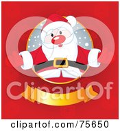 Royalty Free RF Clipart Illustration Of A Jolly Santa Welcoming From A Circle Above A Golden Banner On A Red Snowflake Background by Pushkin