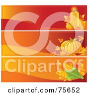 Royalty Free RF Clipart Illustration Of A Digital Collage Of Three Thanksgiving Candle Pumpkin And Corn Website Banners