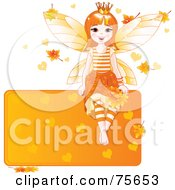 Royalty Free RF Clipart Illustration Of A Happy Autumn Fairy Princess Sitting On A Blank Orange Sign With Leaves And Hearts