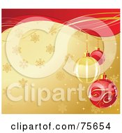 Ornate Red And Golden Christmas Bulbs Over A Snowflake Gold Background With Red Waves