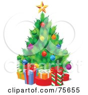 Royalty Free RF Clipart Illustration Of A Christmas Tree With Colorful Baubles Surrounded By Gift Boxes