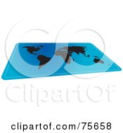 Royalty Free RF Clipart Illustration Of A Blue And Black World Atlas Map