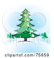 Royalty Free RF Clipart Illustration Of Snow Falling And Landing On An Evergreen Tree In The Winter