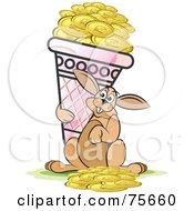Royalty Free RF Clipart Illustration Of A Happy Hare Carrying An Ice Cream Cone Full Of Gold Coins by Lal Perera