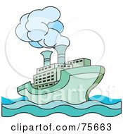 Royalty Free RF Clipart Illustration Of A Green Steamer Cruise Ship by Lal Perera