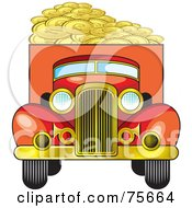 Royalty Free RF Clipart Illustration Of A Retro Red Truck Hauling Coins by Lal Perera