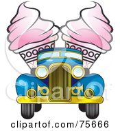 Royalty Free RF Clipart Illustration Of Two Pink Ice Cream Cones In The Back Of A Retro Blue Truck