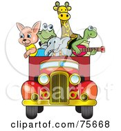 Royalty Free RF Clipart Illustration Of Animals Riding In The Back Of A Vintage Red Truck by Lal Perera