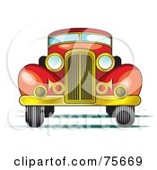 Royalty Free RF Clipart Illustration Of A Retro Red Car With A Gold Bumper by Lal Perera