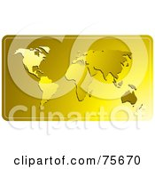 Royalty Free RF Clip Art Illustration Of A Golden World Atlas Map Background by Lal Perera