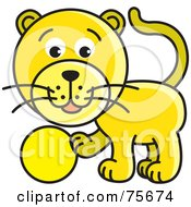 Royalty Free RF Clipart Illustration Of A Frisky Yellow Cat Playing With A Ball