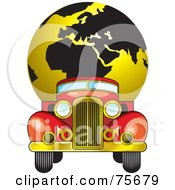 Royalty Free RF Clipart Illustration Of A Vintage Red Truck Moving A Gold And Black Globe