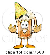 Clipart Picture Of A Beer Mug Mascot Cartoon Character Wearing A Birthday Party Hat