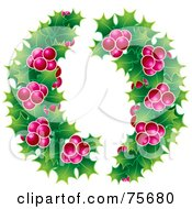 Royalty Free RF Clipart Illustration Of Christmas Holly Garlands With Pink Berries