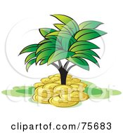 Royalty Free RF Clipart Illustration Of A Leafy Tree Growing In A Pile Of Coins by Lal Perera