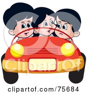 Royalty Free RF Clipart Illustration Of A Girl And Two Boys Riding In A Convertible Car