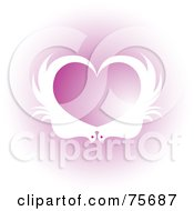 Royalty Free RF Clipart Illustration Of White Birds Forming A Heart Over Pink