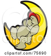 Royalty Free RF Clipart Illustration Of A Sleepy Bear Resting On A Crescent Moon