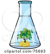 Royalty Free RF Clipart Illustration Of A Tree Growing In A Pile Of Money Inside A Beaker by Lal Perera