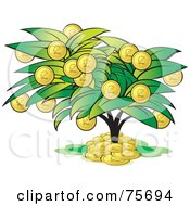 Royalty Free RF Clipart Illustration Of A Tree With Coin Fruits by Lal Perera