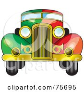 Royalty-Free (RF) Clipart Illustration of a Rretro Half Green, Half Red Vintage Car Witha A Gold Bumper by Lal Perera #COLLC75695-0106