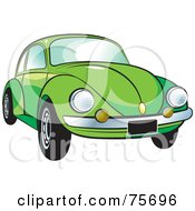 Royalty Free RF Clipart Illustration Of A Parked Green Slug Bug Car With A Chrome Bumper by Lal Perera