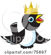 Royalty Free RF Clipart Illustration Of A King Magpie Wearing A Gold Crown