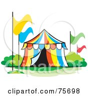 Royalty Free RF Clipart Illustration Of A Colorful Striped Circus Tent With Flags by Lal Perera