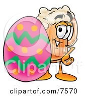 Clipart Picture Of A Beer Mug Mascot Cartoon Character In An Easter Basket Full Of Decorated Easter Eggs