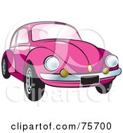 Royalty Free RF Clipart Illustration Of A Parked Pink Slug Bug Car With A Chrome Bumper by Lal Perera