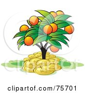 Royalty Free RF Clipart Illustration Of A Tree With Orange Fruits Growing In A Pile Of Coins by Lal Perera