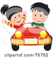 Royalty Free RF Clipart Illustration Of A Little Boy And Girl Riding In A Convertible Car