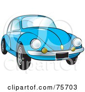 Royalty Free RF Clipart Illustration Of A Parked Blue Slug Bug Car With A Chrome Bumper by Lal Perera