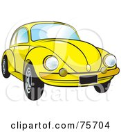 Royalty Free RF Clipart Illustration Of A Parked Yellow Slug Bug Car With A Chrome Bumper by Lal Perera